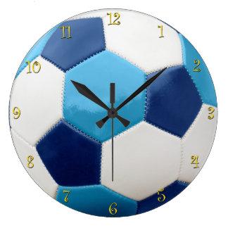 Relógio Grande Azuis da bola de futebol com numerais amarelos