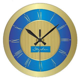 Relógio Grande Azuis marinhos e ouro