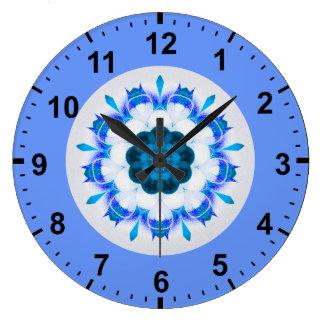 Relógio Grande ~ azul bonito do Fractal da flor do ~
