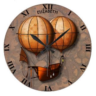 Relógio Grande Balão de ar retro de Steampunk do vintage com