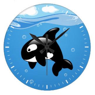 Relógio Grande Baleia bonito da orca no oceano