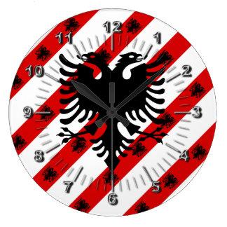 Relógio Grande Bandeira albanesa das listras