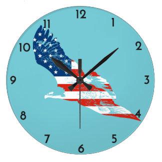 Relógio Grande Bandeira americana em Eagle