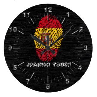 Relógio Grande Bandeira da impressão digital do toque do espanhol