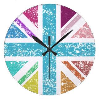 Relógio Grande Bandeira de união afligida colorido