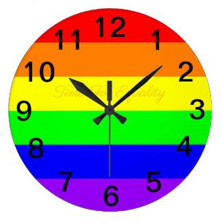 Relógio Grande Bandeira do arco-íris do orgulho gay de LGBT! Hora