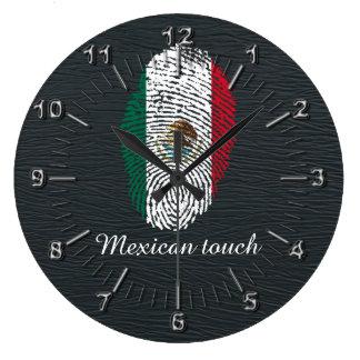 Relógio Grande bandeira mexicana da impressão digital do toque