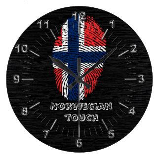 Relógio Grande Bandeira norueguesa da impressão digital do toque