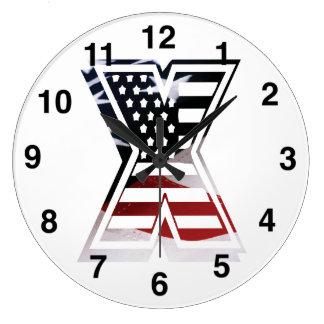 Relógio Grande Bandeira patriótica inicial dos EUA do monograma