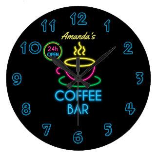 Relógio Grande Bar de café personalizado do sinal de néon