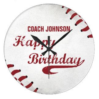 Relógio Grande Basebol do Grunge do feliz aniversario do