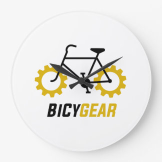 Relógio Grande Bicicleta preta com as rodas de engrenagem