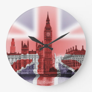 Relógio Grande Big Ben e casas do parlamento, Union Jack