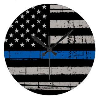 Relógio Grande Blue Line fino - agente da polícia - cão de