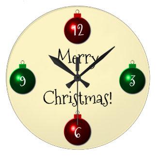 Relógio Grande Bolas vermelhas e verdes do Feliz Natal