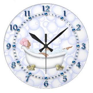 Relógio Grande Bolhas brilhantes azuis do banheiro dos números