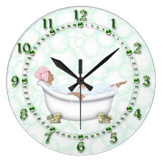 Relógio Grande Bolhas brilhantes dos números do banheiro verde