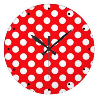 Relógio Grande Bolinhas brancas no fundo vermelho