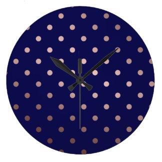 Relógio Grande bolinhas cor-de-rosa do azul do ouro do falso