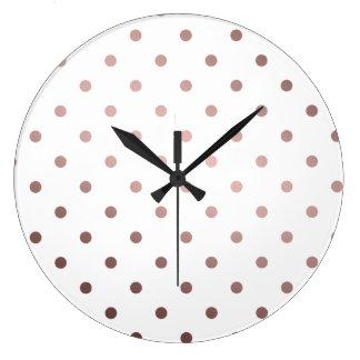 Relógio Grande bolinhas cor-de-rosa do ouro do falso elegante