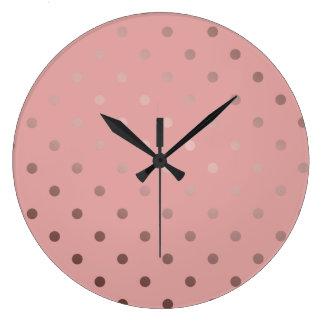 Relógio Grande bolinhas cor-de-rosa do rosa do ouro do falso