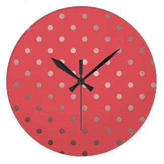 Relógio Grande bolinhas cor-de-rosa do vermelho do ouro do falso