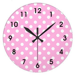 Relógio Grande Bolinhas cor-de-rosa e brancas