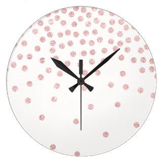 Relógio Grande bolinhas cor-de-rosa femininos dos confetes do