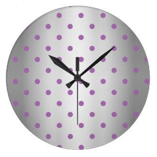 Relógio Grande bolinhas de prata do falso roxo elegante