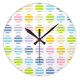 Relógio Grande Bolinhas e listras Pastel do arco-íris
