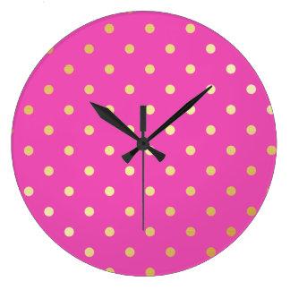 Relógio Grande bolinhas elegantes do rosa do ouro do falso