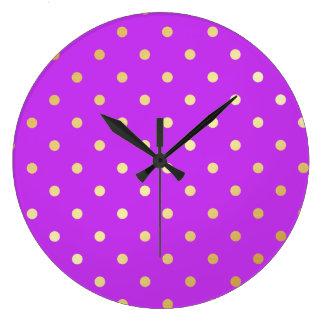 Relógio Grande bolinhas elegantes do roxo do ouro do falso