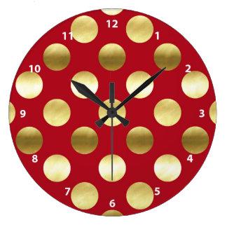 Relógio Grande Bolinhas festivas da folha de ouro vermelhas