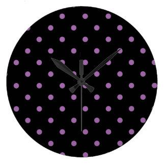 Relógio Grande bolinhas pretas roxas elegantes