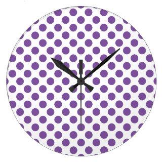 Relógio Grande Bolinhas roxas