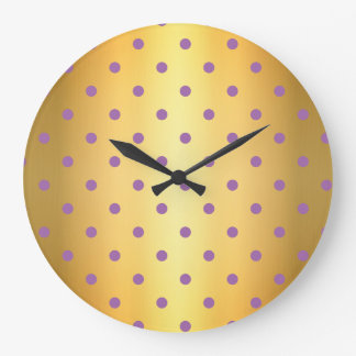 Relógio Grande bolinhas roxas elegantes do ouro do falso