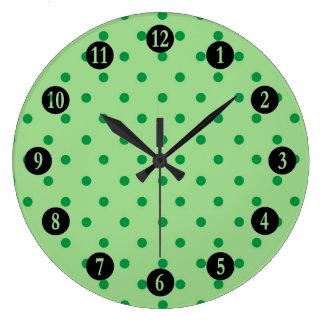 Relógio Grande Bolinhas verdes