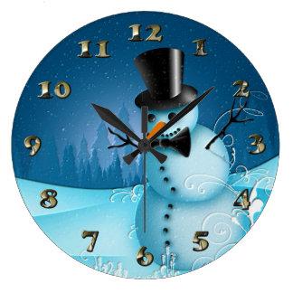 Relógio Grande Boneco de neve azul da neve com o nariz do chapéu