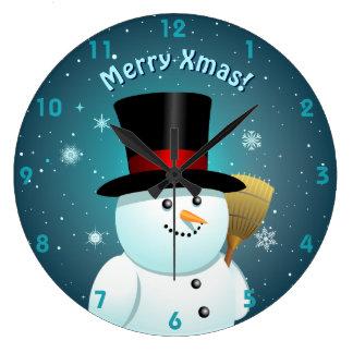 Relógio Grande Boneco de neve bonito com o chapéu alto de feltro