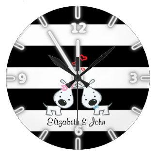 Relógio Grande Bonito adorável, listrado, cães no