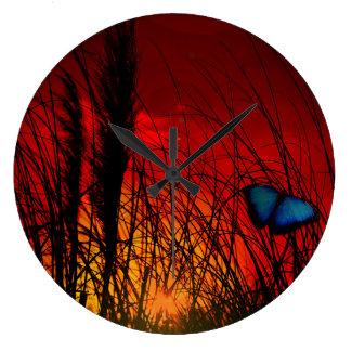 Relógio Grande Borboleta azul