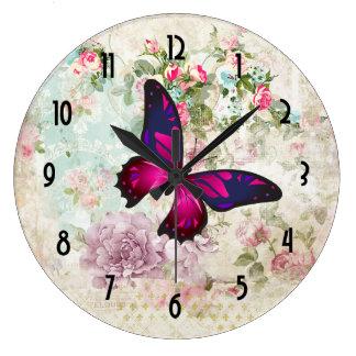 Relógio Grande Borboleta cor-de-rosa e rosas gastos do vintage