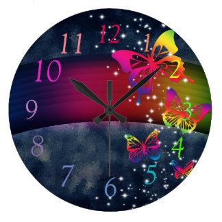 Relógio Grande Borboletas dos arcos-íris n