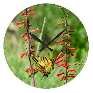 Relógio Grande Borboletas e Wildflowers