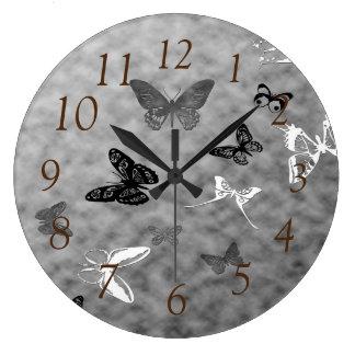 Relógio Grande Borboletas pretas do branco de n