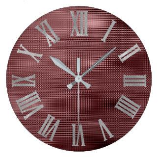 Relógio Grande Borgonha Silve cinzento Numers romano metálico