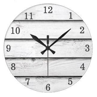 Relógio Grande Branco de madeira | dos Slats | do falso
