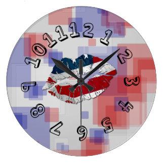 Relógio Grande Branco e azul vermelhos