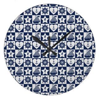 Relógio Grande Branco náutico dos azuis marinhos checkered