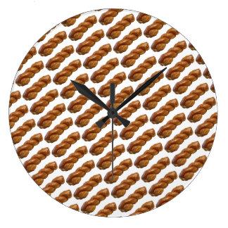 Relógio Grande Branco vitrificado redondo da torção do pulso de